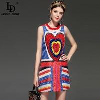 LD LINDA DELLA New 2018 Fashion Runway Designer Summer Dress Women S Sleeveless Gorgeous Colour Love