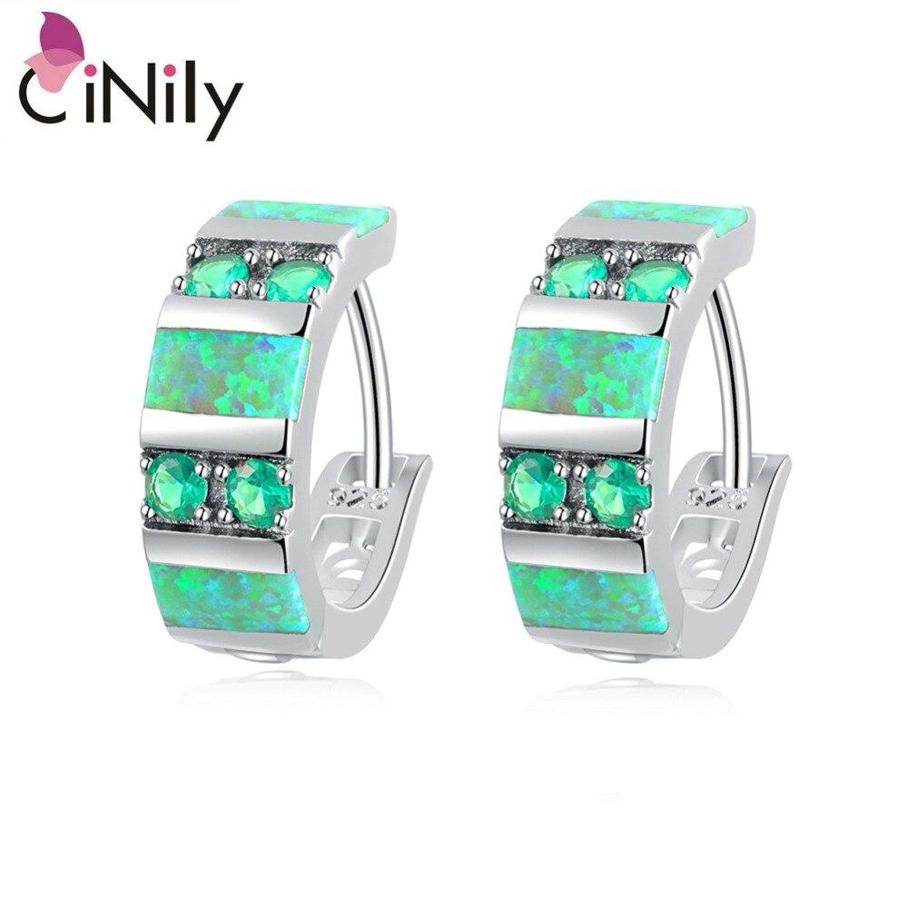 CiNily Created Green Fire Opal Green Quartz Silver Plated Earrings Wholesale Fashion for Women Jewelry Hoop Earrings 3/4
