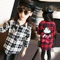 4-13 Anos de Menina Camisa Xadrez Outono Crianças Blusa Manga Longa de Impressão Blusa Escola Fille Meninas Adolescentes Roupas