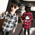 4-13 Years Girl Plaid Shirt Autumn Children Blouse Long Sleeve Print School Blouse Fille Teenage Girls Clothes