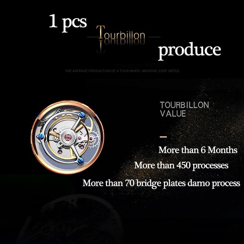 100% Tourbillon GUANQIN Men watches top brand luxury Tourbillon clock men Sapphire Skeleton mechanical watch Relogio Masculino 3