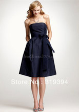 New Simple Best Sale Taffeta Strapless Knee-length With Sash Dark Navy Bridesmaid Dresses 2016 Summer Dress Homecoming