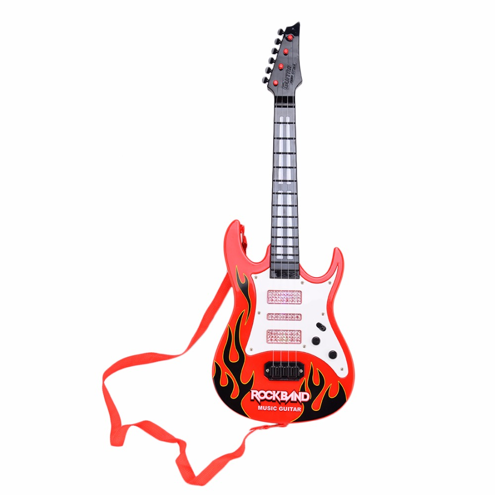Surwish Rock Band Music Electric Guitar 4 Strings Kids Musical Instruments Educational Toy