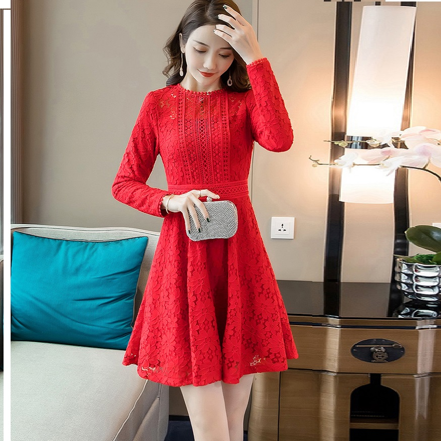 Free shipping 2018 Winter Female Warm Fleece Lace Dress Pinched Waist Ball gown  dress plus size elegant Casual vestidos M-XXXXL 5f9c53c8d2cf