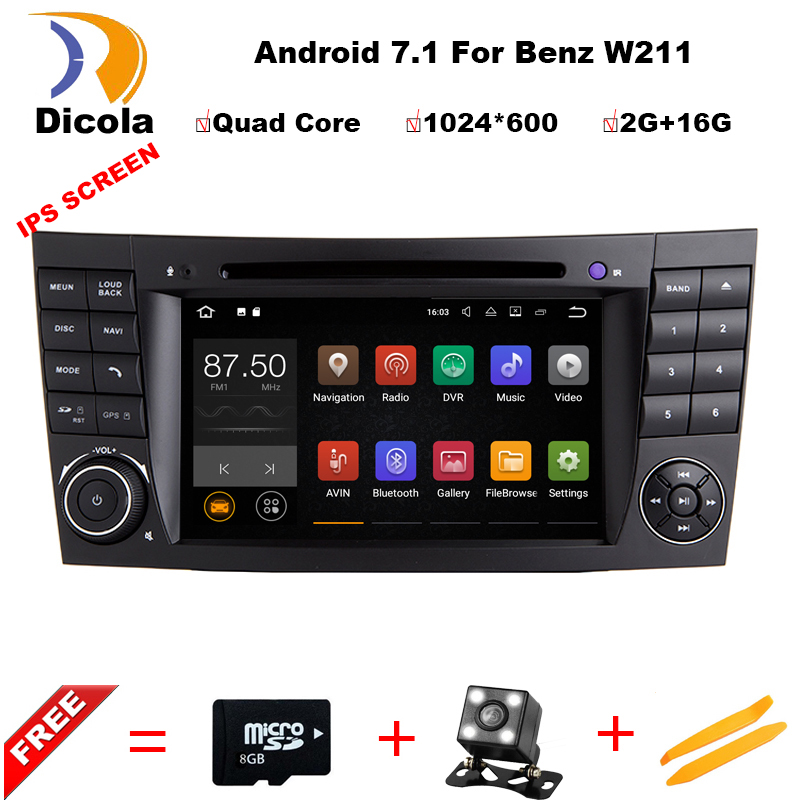 Android 7.1.1 Quad Core Car DVD Player For MERCEDES BENZ E class W211 G Class W463 CLS W219 GPS Navi Head Unit Car Video Player