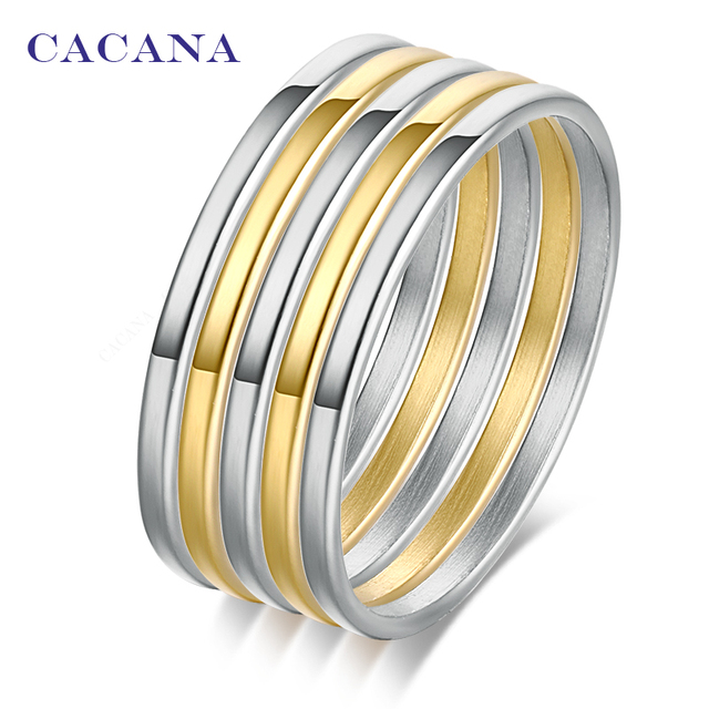 CACANA Titanium Stainless Steel Rings For Women 1set(5pcs) High Quality Free Com