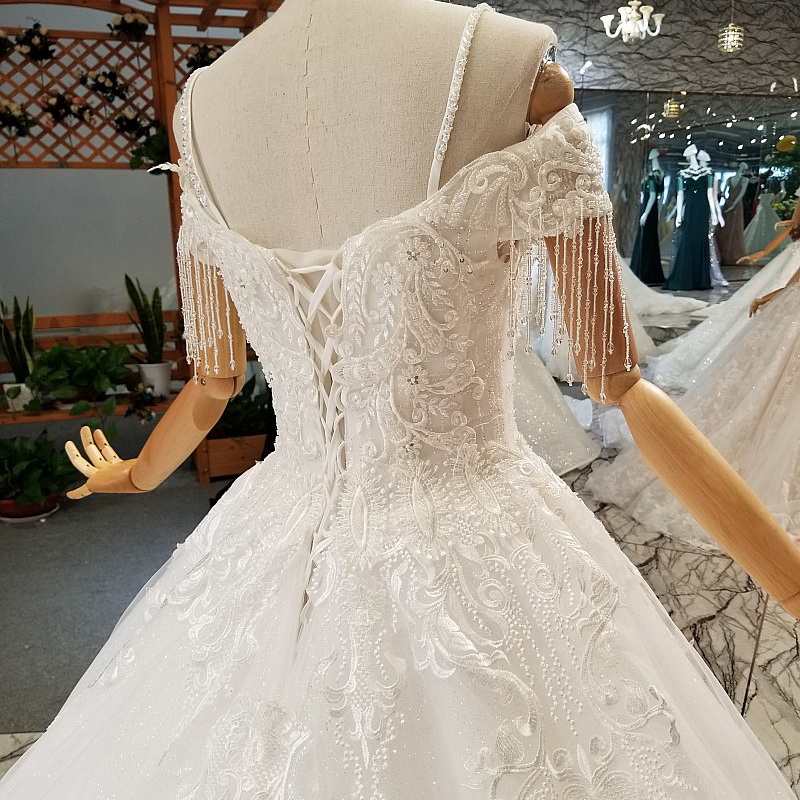 AXJFU Luxury princess boat neck white lace beading wedding dress vintage flower diamond wedding dress 100% real photos 932475