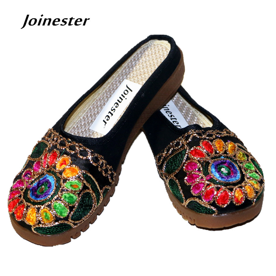Ethnic Flavor Embroider Round Toe Canvas/Grenadine Summer Flats Women TPR Sole Vintage Slides with Bling Bohemia Beach Slipper vintage embroidery women flats chinese floral canvas embroidered shoes national old beijing cloth single dance soft flats