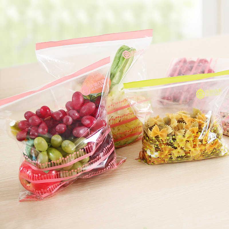 50Pcs Ziplock Bag Reusable Vegetable Storage Bags Portable Removable Plastic Transparent Food Pouch Kitchen Organization Stuff