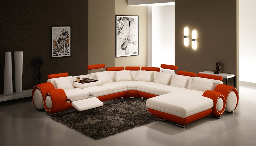 Modern Living Room Large Corner Sofa U Shaped Sectional Leather Couch For Home FurnitureChina