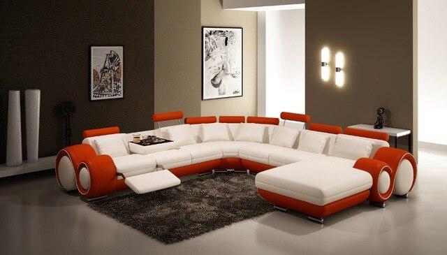 US $1268.0 |Moderno soggiorno ampio divano ad angolo a forma di U in pelle  sezionale divano per mobili per la casa in Moderno soggiorno ampio divano  ...