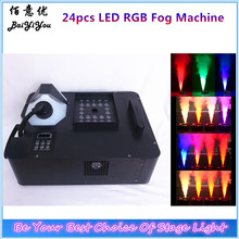 Stage Effect Geyser RGB LED Up Spray Vertical DMX Fog Smoke Machine With LED Fire/Flame DJ Light Effect And Colored Smoke