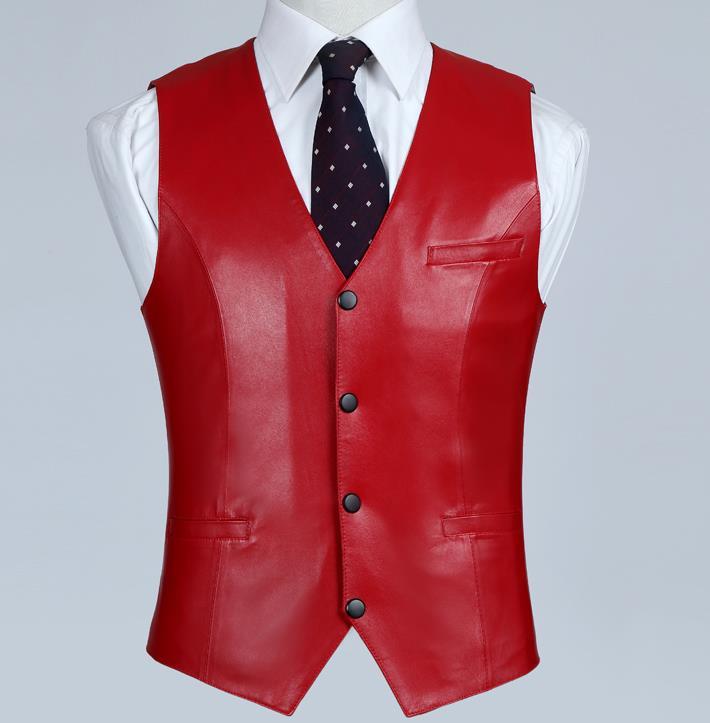 Chaleco rojo de cuero genuino para hombre 100% chaqueta de cuero de piel de cordero ajustado Chaleco de piel de oveja abrigo de negocios de alta calidad-in Chalecos y chalecos from Ropa de hombre    1