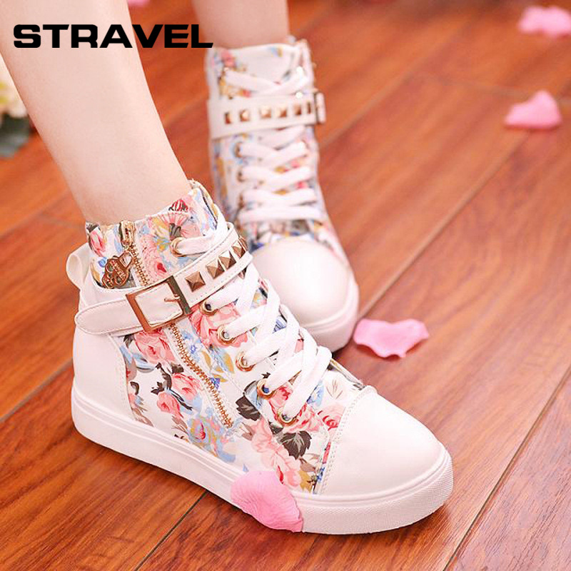 Stravel High Quality Women Canvas Shoes Lace-up High-top Lad