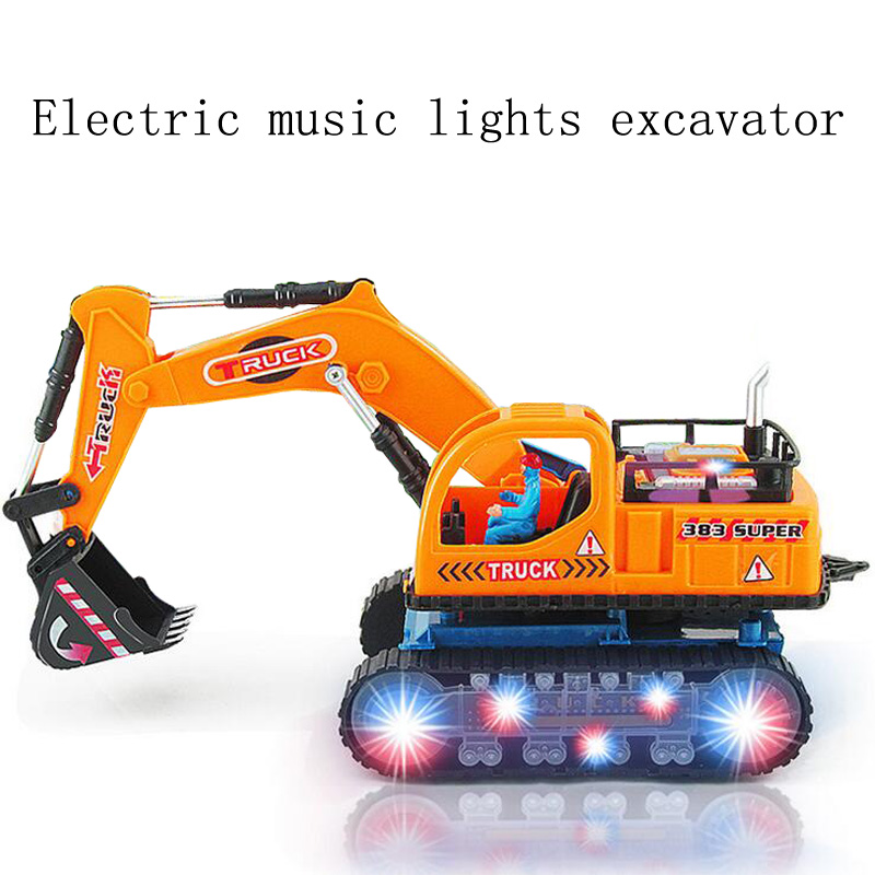 Children 's toys new electric engineering vehicles excavator models music lights universal movement car toys