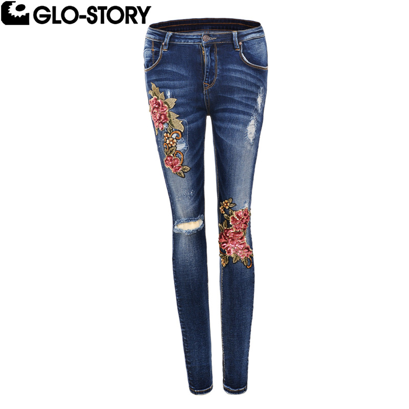 Bottoms Women's Clothing Glo-story Women Floral Appliques Embroidered Jeans Ladies Distressed Ripped Jean Femme Knee Patchwork Skinny Pencil Pants 5579 Can Be Repeatedly Remolded.