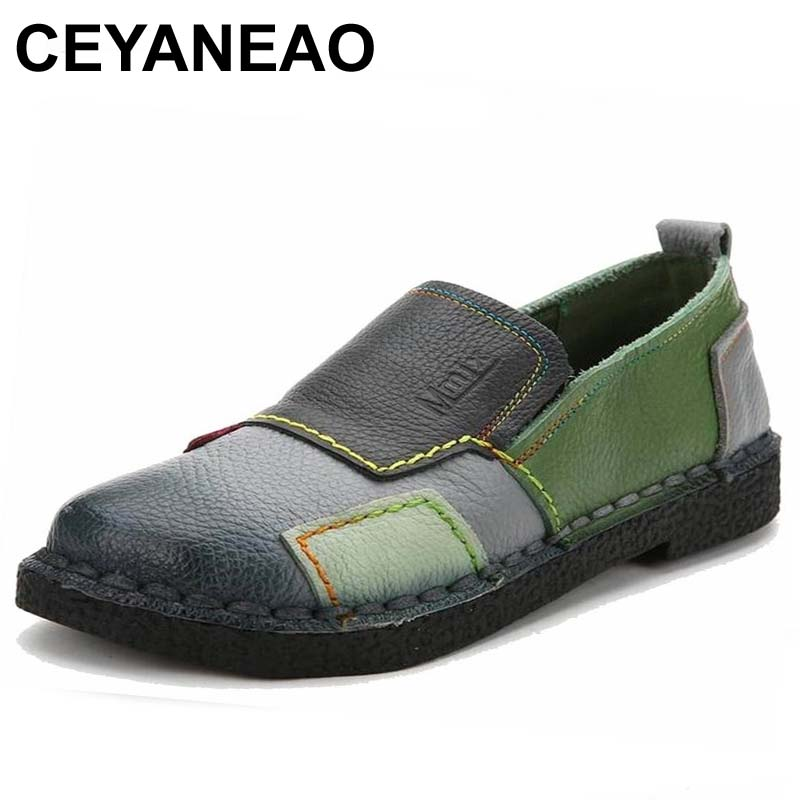 CEYANEAO2018 Fashion Women Shoes Genuine Leather Loafers Women Mixed Colors Casual shoes Handmade Soft Comfortable Shoes Women (China)