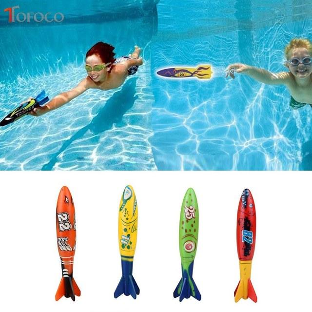 TOFOCO 4PCS Bath Toy Underwater Rocket Swimming Pool Toy Swim Dive ...