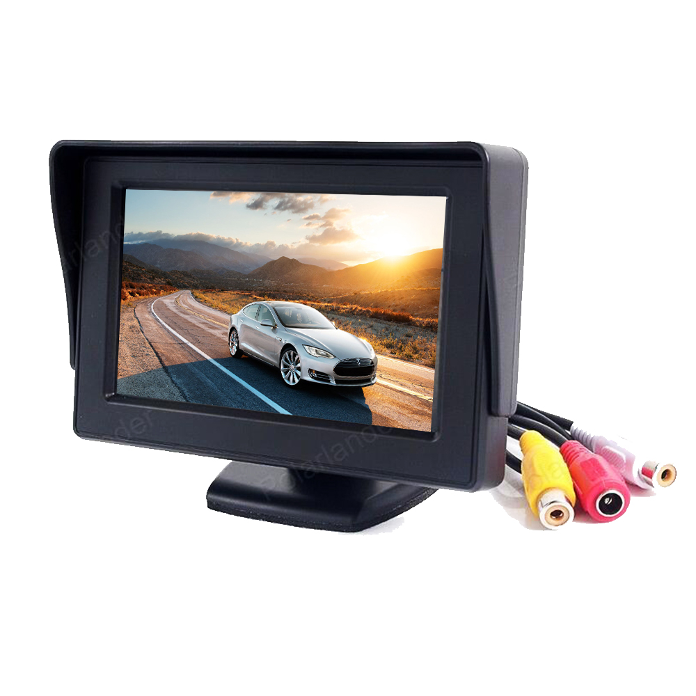 4.3 inch In-Dash Car Monitor TFT LCD Screen display 2 way video input For Rear View Camera DVD Parking asistance