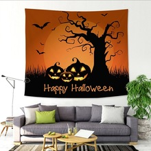 Horror Pumpkin Wall Tapestry Hanging Fabric Bat Tree Psychedelic Mandala Tapiz Hippie Boho Home Decor Table Cloth