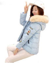 Winter Fashion Women Warm Character Patch Design Cotton Padded Parkas Casual Oversized Faux Fur Hooded Outerwear Jacket Coat