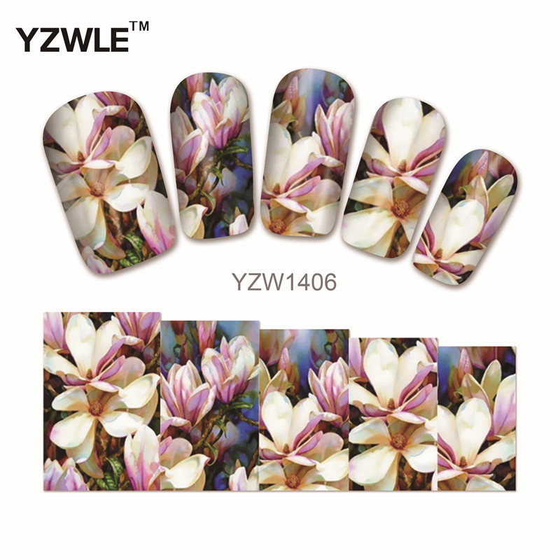 YZWLE 1 Sheet Chic Flower Nail Art Water Decals Transfer Stickers Splendid Water Decals Sticker(YZW-1406) yzwle 1 sheet hot gold 3d nail art stickers diy nail decorations decals foils wraps manicure styling tools yzw 6015