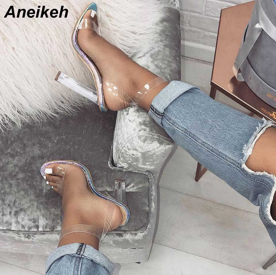 Aneikeh Summer 2019 Mature PVC Women Sandals Transparent Round Toe Clear Glass Square High Heel Buckle Strap Wedding Silver-Blue