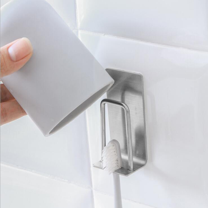 1Pcs Stainless Steel Rustproof <font><b>Toothbrush</b></font> Holder Toothpaste Holder Wall Mounted Suction Storage <font><b>Rack</b></font> Hanger Bathroom Accessories image