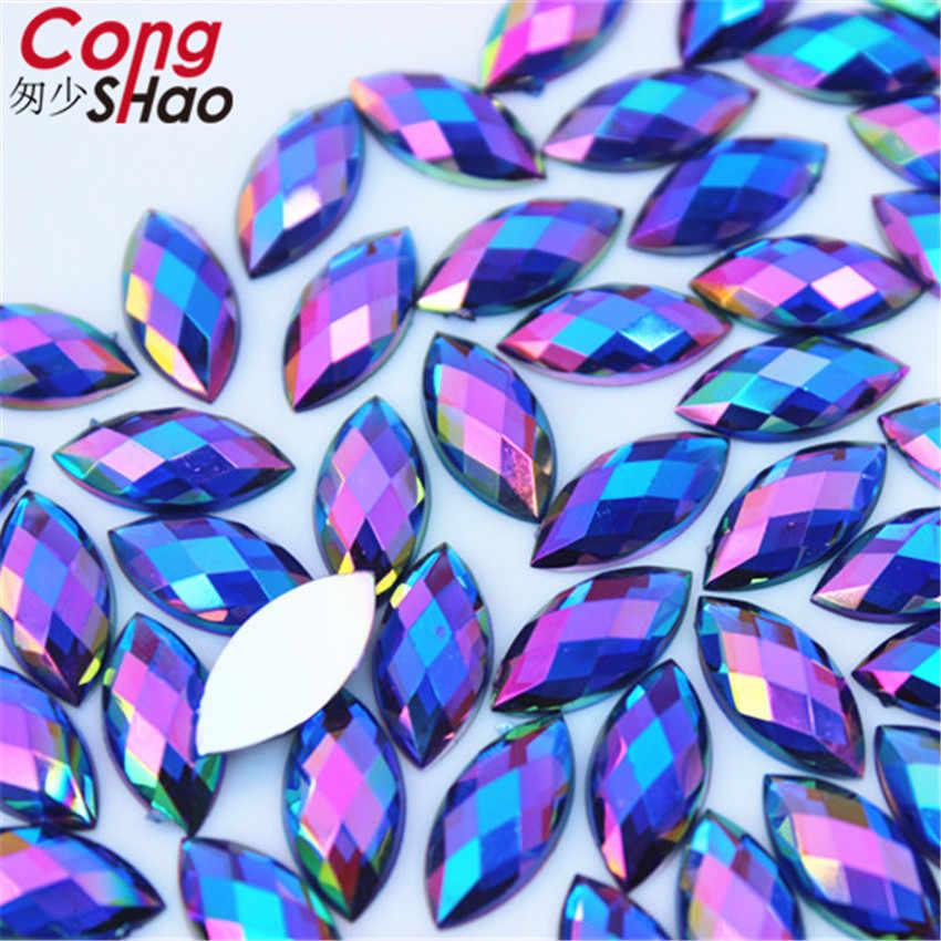Cong Shao 100PCS 7*15mm AB Bunte Pferd auge flatback Acryl strass trim steine und Kristalle Dekoration zubehör WC54