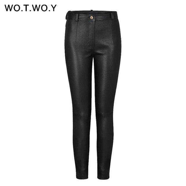 3dfdbc4552095 WOTWOY Осень Зима Высокая талия кожаные брюки женские флисовые брюки из  искусственной кожи Женские Карманы повседневные