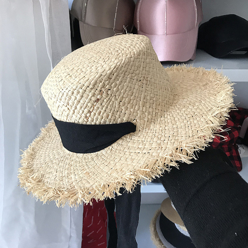 588afcf6bbb03 Aliexpress.com   Buy FGHGF Women s Weave Raffia Sun Hats Wide Brim Summer  Beach Hat White Black Ribbon Lace Up Straw Hats Kentucky Derby Boater Hats  from ...
