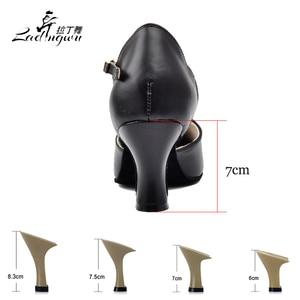 Image 3 - Ladingwu Sıcak Satış kadın Hakiki deri ayakkabı Balo Salonu Dans Yarışması Ayakkabı Siyah Latin Dans Ayakkabıları Topuk 6/7/8/6 p/7 p 7.5/8.3 cm