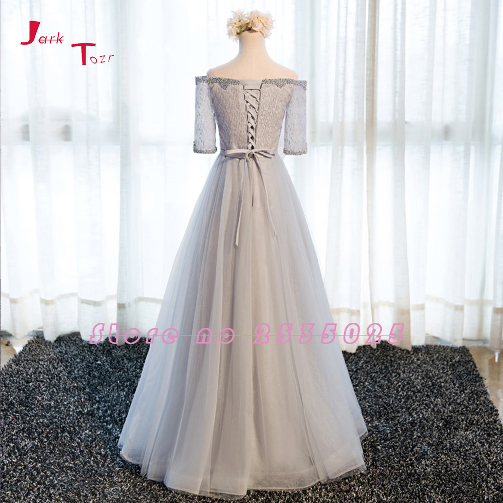 Jark Tozr Custom Made Long Formal Gowns Vestido Longo 2018 Three Quarter Sleeve Beading Lace Tulle Grey Bridesmaid Dresses