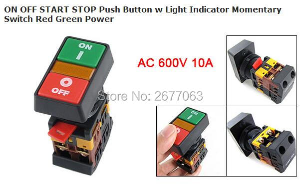 5pcs PPBB-30N ON OFF START STOP Push Button w Light Indicator Momentary Switch Red Green Power
