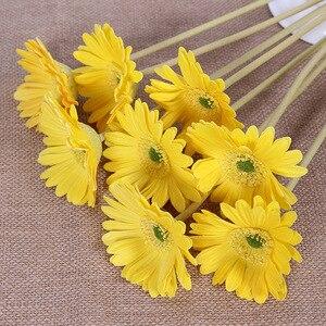 Image 5 - מלאכותי פרח PU מגע אמיתי גרברה פרח חמניות מזויף פרח מסיבת חתונת מתנות עיצוב הבית שולחן דקור
