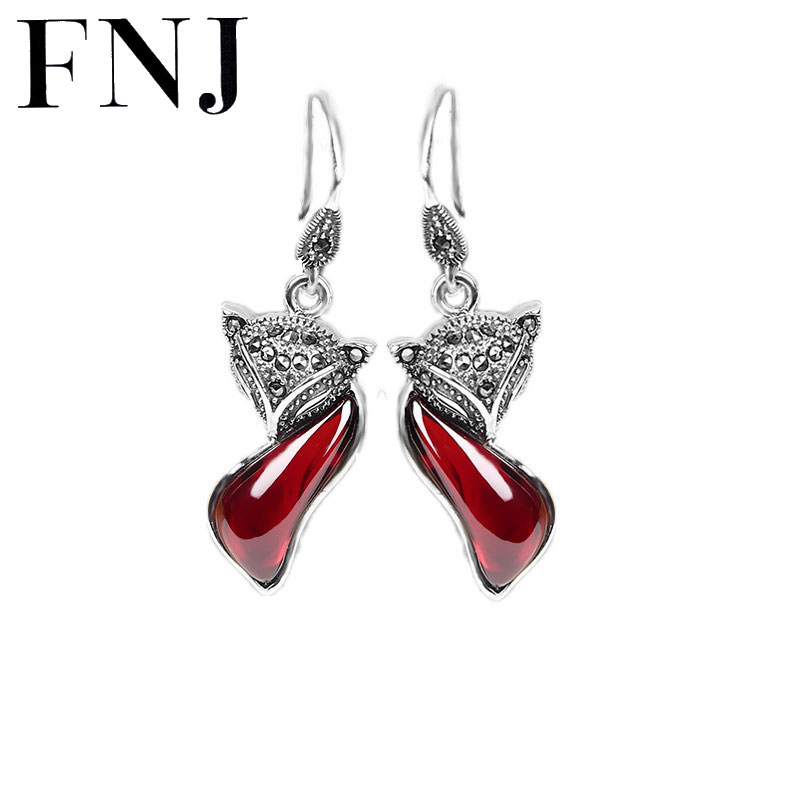 Fashion 925 Silver Fox Earring Blue Rose Red Stone Cubic Zircon 100% S925 Sterling Silver boucle Drop Earrings for Women Jewelry 925 sterling silver earrings jewelry with blue opal for women classic drop earrings fox shape permanent fashion anniversary gift