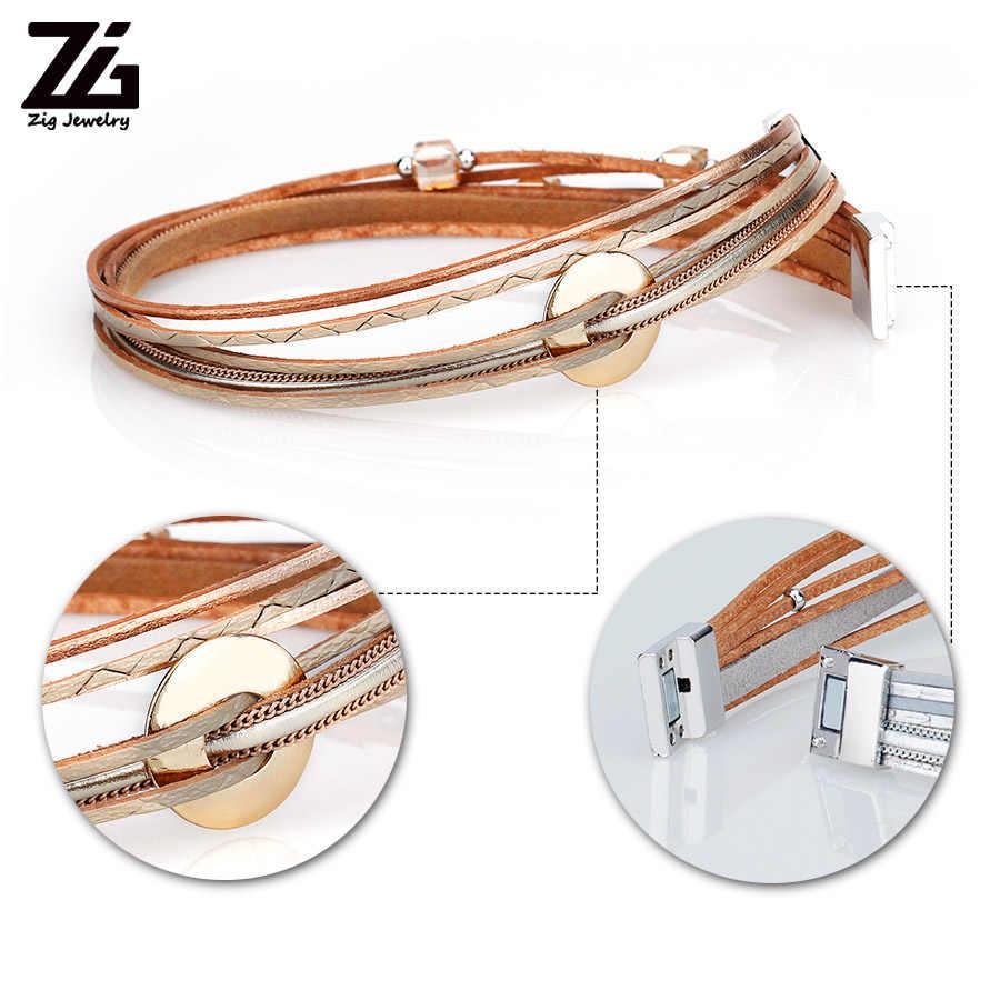 ZG 2020 תכשיטים צמיד גבירותיי ב 3 צבעים נשים עור ארוך צמיד עם קריסטל חרוזים ומתכת קסמי