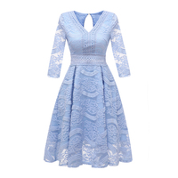 Sisjuly Evening Party Women Floral Jacquard Embroidery Hollow Out Lace Dress Office Lady Sweet Pink Sky Blue Beige Basic Dresses