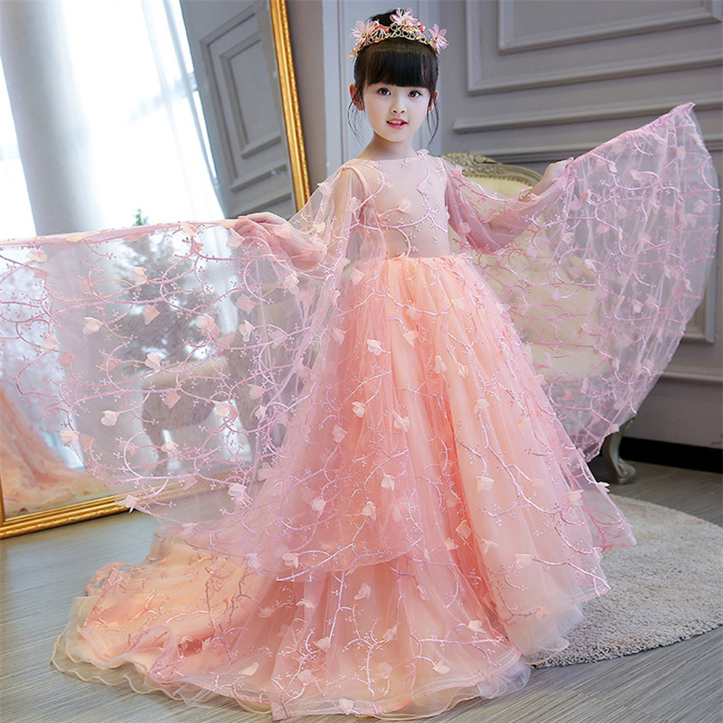 2018 New Children Girls Noble Luxury Pink Petal Sleeves Birthday Wedding Party Long Tail Mesh dress Babies Kids Ball Gown Dress pink lace up design cold shoulder long sleeves hoodie dress