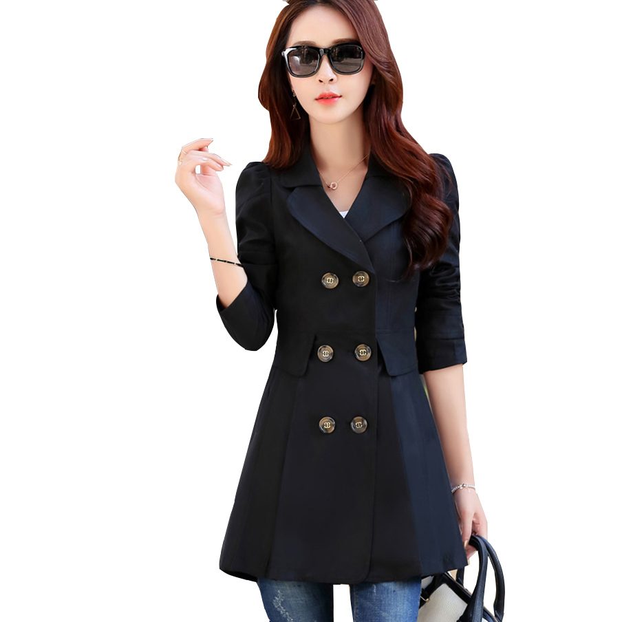 Trench   Coat Women 2018 Autumn Double-Breasted Turn Down Collar Ladies Coats Female Casual Windbreaker Outwear Casaco Feminino
