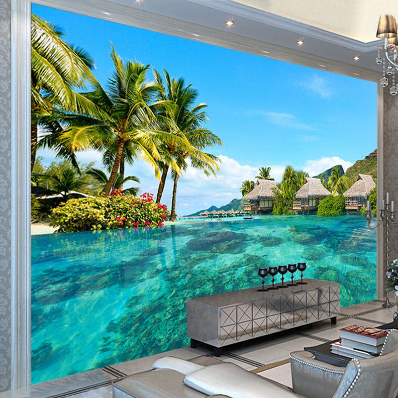 Custom 3D Photo Wallpaper HD Maldives Sea Beach Natural Landscape Photography Living Room TV Background Wall Painting Wall Mural