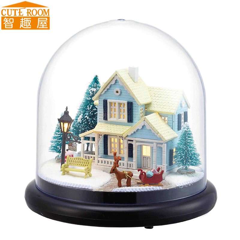 Cutebee DIY House Miniatura con muebles LED Music Dust Cover Modelo Building Blocks Juguetes para niños Casa De Boneca B025