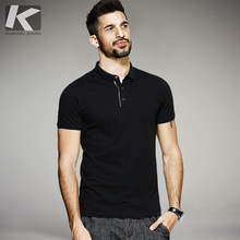 KUEGOU New Summer Mens Casual Polo Shirts Patchwork Black Brand Clothing For Man's Short Sleeve Slim Fit Clothes Male Tops 0355