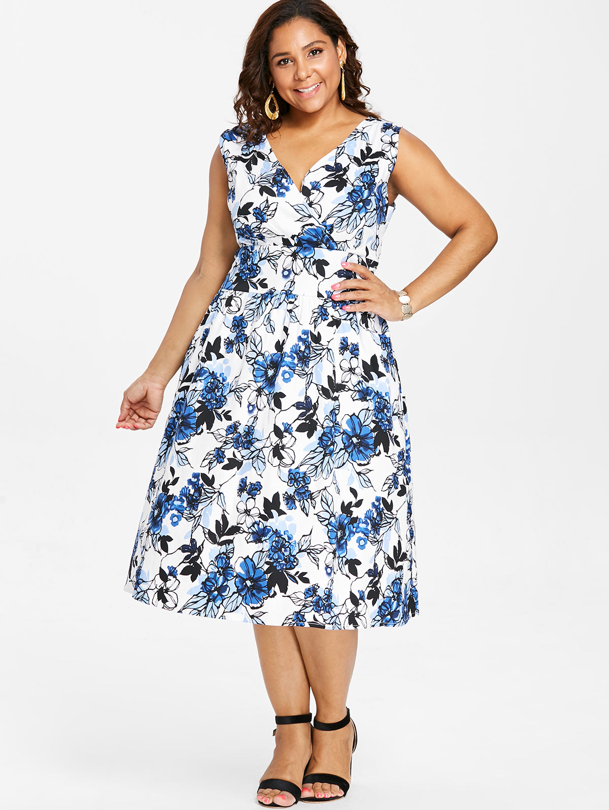 US $17.69 52% OFF|Wipalo Plus Size Print Vintage Surplice Sleeveless Fit  And Flare Dress Women Midi Dress Causal A Line Dress Big Size Robe Femme-in  ...