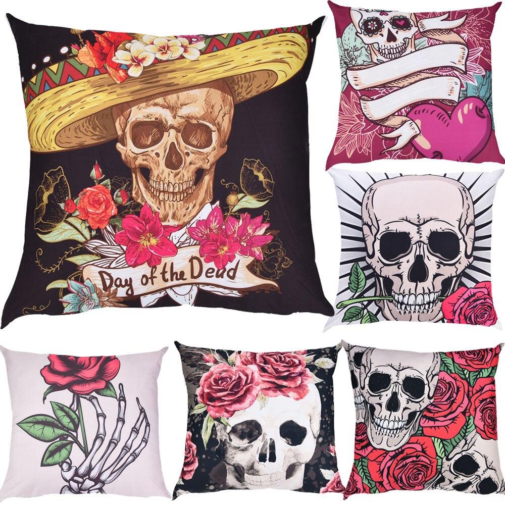 Unique Design Skulls Print Pillow Case Polyester 45*45cm Hidden Zipper Closure Cartoon Pilow Case #41405Drop Shopping Allow