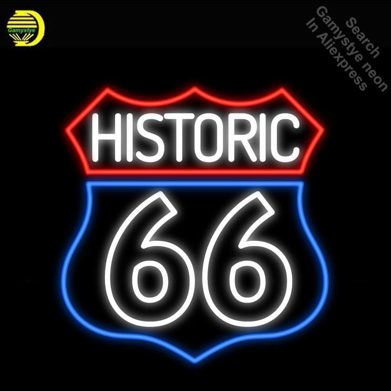Insegne al neon per Historic Route 66 Luce Al Neon Iscriviti Handcrafted Neon Lampadine segno Tubo di Vetro Decorare Game Room Segni dropshipping