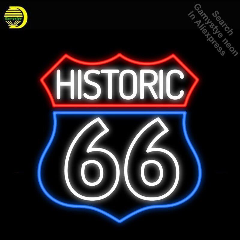 Néon Signes pour Historique Route 66 Néon Light Enregistrez-vous Handcrafted Neon Ampoules signe Verre Tube Décorer Salle de Jeux Signes dropshipping