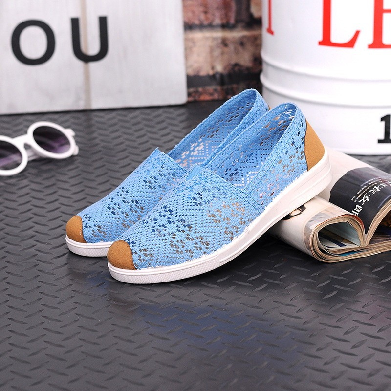Free Shipping Women Casual Shoes Spring Summer Hollow Lace Flat Shoes Breathable Soft Women Shoes HSE12 (8)