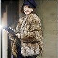 Imitation fur coat short fur collar brief paragraph 2016 fashionable new dress raccoon coat