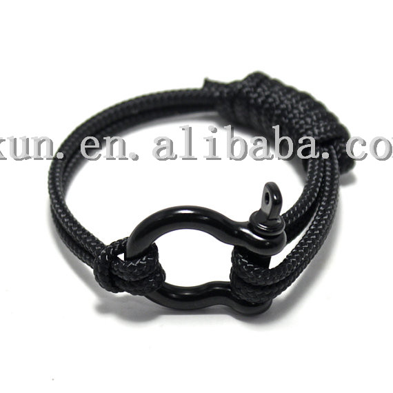 Fashion Men S Anchor Shackle Paracord Bracelet Nautical Unadjule U Buckle Rope In Wrap Bracelets From Jewelry